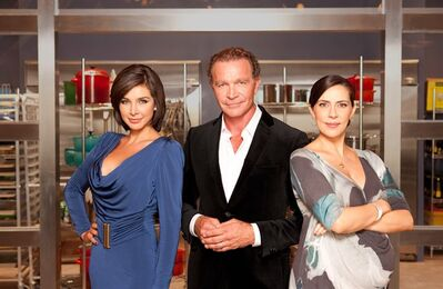 """Top Chef Canada"" host Lisa Ray, head judge and chef Mark McEwan, and L.A. restaurateur and resident judge Shereen Arazm. THE CANADIAN PRESS/HO-Top Chef Canada/Insight Productions-Andrew MacNaughtan"
