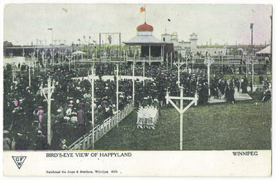 A postcard of Happyland Park depicting opening day where an acrobat is soaring high above the crowds on an 80-foot aerial swing.