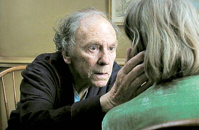"FILE - This undated file film image released by Sony Pictures Classics shows Jean-Louis Trintignant in a scene from the Austrian film, ""Amour."" The film was nominated for a Golden Globe for best foreign film on Thursday, Dec. 13, 2012. The 70th annual Golden Globe Awards will be held on Jan. 13. (AP Photo/Sony Pictures Classics, File) ORG XMIT: NYET708"