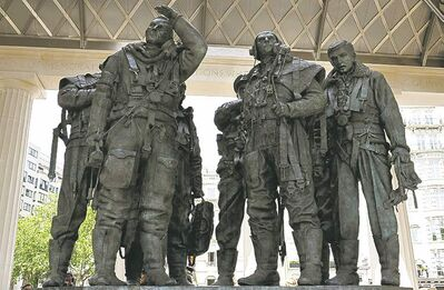 The Bomber Command Memorial in Green Park, London which was unveiled by Queen Elizabeth II Thursday June 28, 2012. The memorial remembers the sacrifice and bravery of the 55,573 RAF crew who lost their lives in the Second World War. (AP Photo/John Stillwell, Pool)