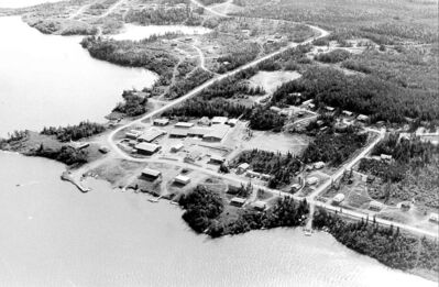 The northern community of South Indian Lake, seen here in 1984, was disrupted by Manitoba Hydro projects.