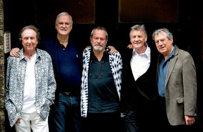 From left, Eric Idle, John Cleese, Terry Gilliam, Michael Palin and Terry Jones of the comedy group Monty Python are reuniting for a series of concerts.