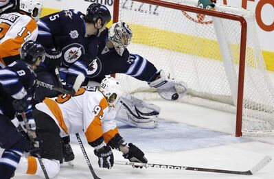 Winnipeg goaltender Ondrej Pavelec made his share of spectacular saves last season. None was better than this rob-job on Philly's Jakub Voracek. Everyone is still waiting for his first big stop since last spring.