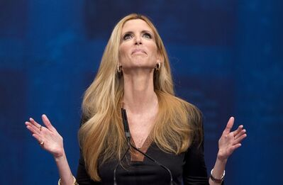 """FILE - This Feb. 10, 2012 file photo shows conservative commentator Ann Coulter gesturing while speaking at the Conservative Political Action Conference (CPAC) in Washington. The Fox Nation web site has removed a column by conservative commentator Ann Coulter because it had a reference to killing the daughter of Sen. John McCain. Fox said Thursday, April 11, 2013, the column, posted Wednesday night, was deemed offensive. Coulter wrote that MSNBC's Martin Bashir suggested Republican senators need to have a member of their family killed before they would support stronger gun control legislation. She wrote: """"Let's start with Meghan McCain!"""" (AP Photo/J. Scott Applewhite, file)"""