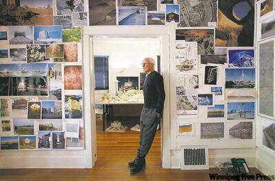 Antoine Predock, architect responsible for the Canadian Museum for Human Rights, in the Canada cottage on the grounds nears his office in Albuquerque New Mexico.
