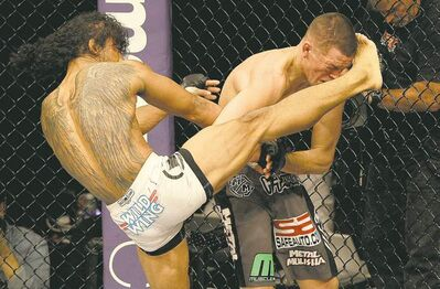 Jeff Chiu / the associated pressBenson Henderson unloads a kick on Nate Diaz during the fifth round of their lightweight title fight.