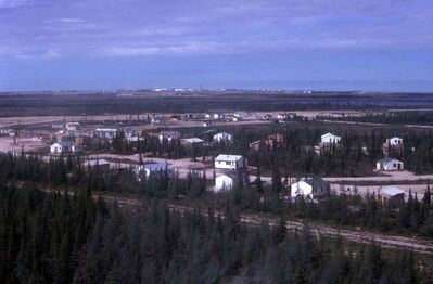 WILLIAM KOOLAGE PHOTO  Sayisi Dene in Churchill 1968 - photo shows distance from the town of Churchill