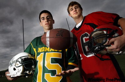 Trevor Pomarenski (left) of the Nomads and St. Vital's Jordan Doiron will face off in Saturday's Stroppa Bowl.