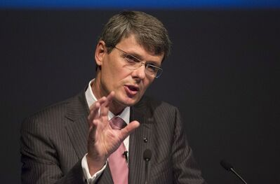 Blackberry CEO Thorsten Heins speaks at the company's Annual General Meeting in Waterloo, Ontario, Tuesday, July 9, 2013. THE CANADIAN PRESS/ Geoff Robins