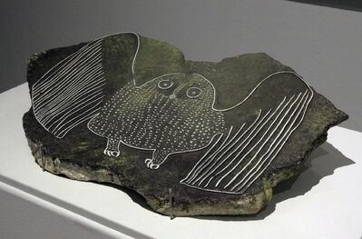 Startled Owl, a stone block carved by Eegyvudluk Pootoogook.</p>