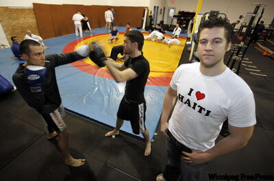 Dominick Blais and Curtis Brigham train at Professional Edge Fitness and Conditioning. Owner Jordan Cieciwa (right) says if you feel the need to fight, the controlled environment of a gym is a much safer way of going about it.