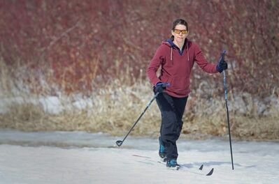 Jodi Pratt cross-country skis in Winnipeg's Wildwood Park Sunday. A fresh layer of snow will come our way from a system hitting North Dakota today.