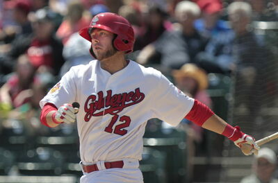 Winnipeg Goldeyes first baseman Casey Haerther went 4-for-4 in Thursday's 5-2 win over the Grand Prairie AirHogs.