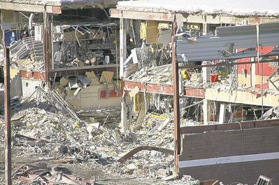 The Algo Centre Mall remains a wreck almost nine months after the collapse.