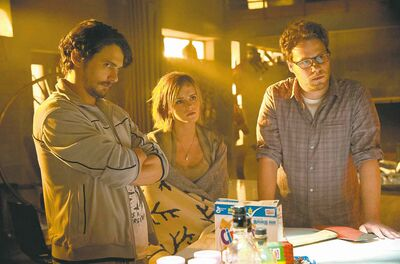 From left, James Franco, Emma Watson and Seth Rogen star in This Is the End.