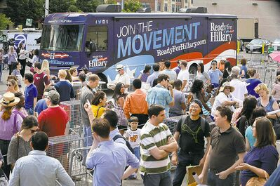Clinton's book tour looks a lot like a political campaign.
