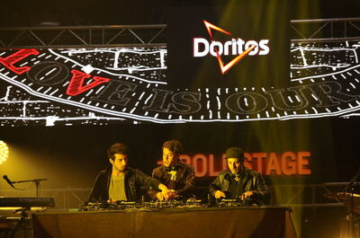 At South by Southwest, bands in pursuit of an ever-shifting standard of cool perform in the mouth of a larger-than-life Doritos vending machine.