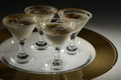 Chilled eggnog shooters.