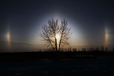 Strong south winds have whipped up ice crystals in the air causing beautiful sundogs to appear this morning.