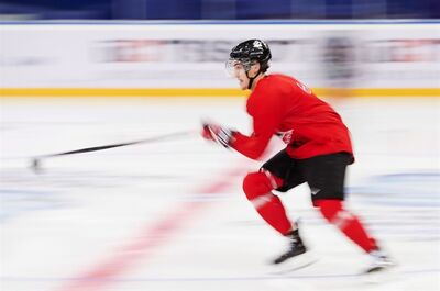 Team Canada forward JC Lipon skates through a drill during practice at the IIHF World Junior Championships in Ufa, Russia on Saturday, Dec. 29, 2012. THE CANADIAN PRESS/Nathan Denette