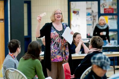 Heather Block of United Way Winnipeg is leading a poverty simulation (Living on the Edge) at Maples Collegiate earlier this spring..