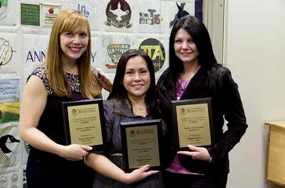 (From left) Tara Ewanchuk, Lanelle Prairie and Pamela Boen — Seven Oaks School Division education assistants and soon-to-be CATEP graduates from the University of Winnipeg — were honoured recently at a reception held by the Manitoba Teachers' Society.