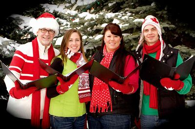 From left to right: Bill Quinn, Sara Clefstad-Tremblay, Jodie Borle and Dan Peasgood are The SnowTones. The a cappella quartet are spreading seasonal cheer at various shops and restaurants in south Winnipeg this month.