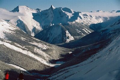 Skiers at B.C.'s Jumbo Valley are shown in a handout photo. THE CANADIAN PRESS/HO