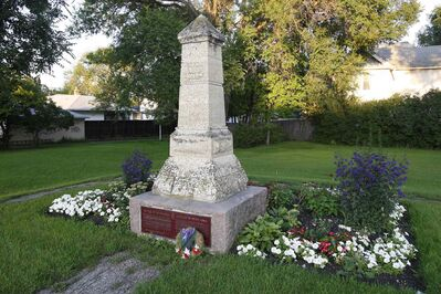 The original Battle of Seven Oaks monument on the north east corner of Main Street and Rupertsland Boulevard.