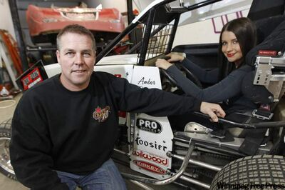 Like father, like daughter: Mike Balcaen and Amber Balcaen have dirt-track auto racing in their blood. He runs late-models, she runs lightning sprints and wants to be the next Danica Patrick.