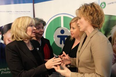 From left, Laureen Harper, MP Joyce Bateman, Lianna McDonald, Exec. Dir. Canadian Cemtre for Child Protection and Signy Arnason, Cybertip.ca, speaking at the Canadian Centre for Child Protection, Friday.