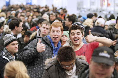 November 28, 2012 - 121128  -  Sean Baergen and Stephen Goerz give a thumbs up at the opening of IKEA on Wednesday