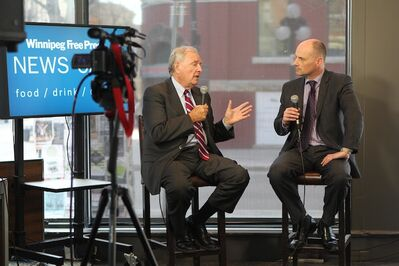 Former Prime Minister Paul Martin is interviewed by Winnipeg Free Press Editor Paul Samyn at the Winnipeg Free Press News Cafe in downtown Winnipeg.