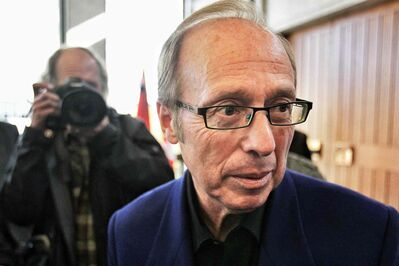 Sam Katz, Mayor of the City of Winnipeg talks to reporters about the resignation of Phil Sheegl, Winnipeg's chief administrative officer. The announcement comes only days before the release of a review into the fire-paramedic station replacement program.