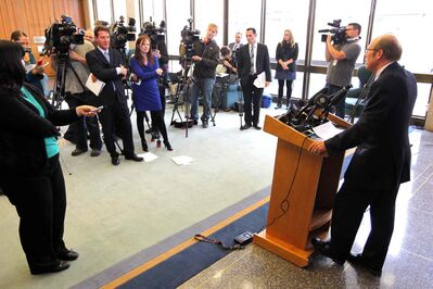 Mayor Sam Katz addresses reporters at city hall Monday after the Ernst & Young report was tabled.