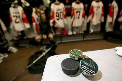 Chew is seen in the dressing room in the Selkirk Rec Complex during a Selkirk Steelers game against the Portage Terriers.