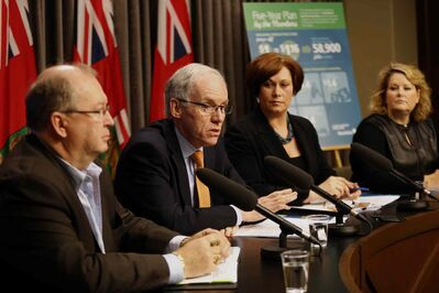 From left: Chris Lorenc, Manitoba Heavy Construction Association;  Transportation Minister Steve Ashton; Jobs and Economy Minister Theresa Oswald; and Diane Gray of CentrePort.