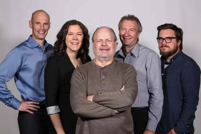 FROM LEFT: Associate editor enterprise Scott Gibbons, multimedia editor and archival researcher Melissa Tait, feature writer Randy Turner,  art director Gordon Preece and digital designer Rob Rodgers have devoted four months to the City Beautiful project.