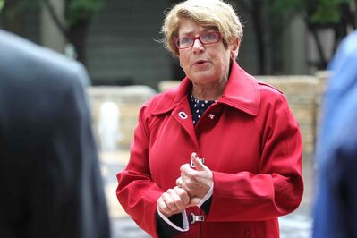 Mayoral candidate Judy Wasylycia-Leis at a news conference in the courtyard of City Hall Thursday morning.