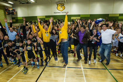 Winnipeg's biggest 'jumpshot' — led by Kevin Chief (centre), NDP cabinet minister and former University of Winnipeg basketball player.