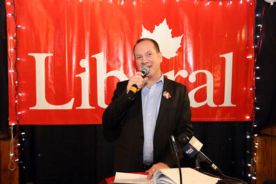 Rolf Dinsdale addresses supporters after narrowly losing the Brandon Souris federal byelection to Conservative Larry Maguire in November 2013. Dinsdale has decided not to seek the Liberal nomination for the 2015 election.