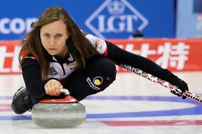 Canada's Rachel Homan prepares to release the stone during a match against Scotland in the CPT World Women's Curling Championship 2017 (WWCC) in Beijing, Tuesday, March 21, 2017. (AP Photo/Andy Wong)