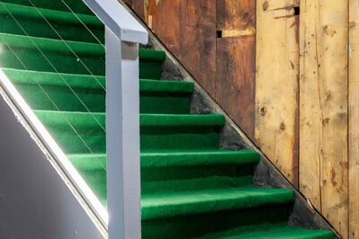 An Astroturf-covered stairway.