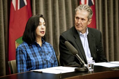 Jay Grewal, president and CEO of Manitoba Hydro, updates the media about efforts to restore power to tens of thousands of customers on Sunday. (John Woods / Winnipeg Free Press)
