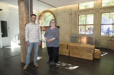 Condo association chairwoman Penny McMillan and board member Justin Friesen at the renovated Ashdown Warehouse Condominiums complex, 167 Bannatyne Ave.