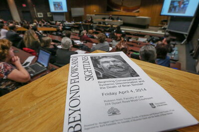 Students, professors and community come together for a lecture about systemic discrimination and the death of Brian Sinclair at the U of M in Winnipeg on Friday.