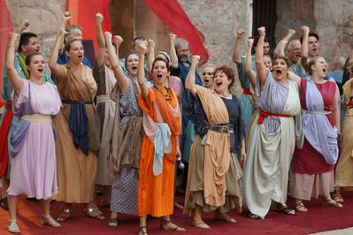 The cast of Quo Vadis is huge by fringe standards.
