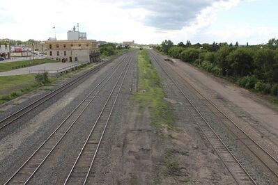 The rail yards today. There is no memorial or marker honouring those killed in the 1916 crash.
