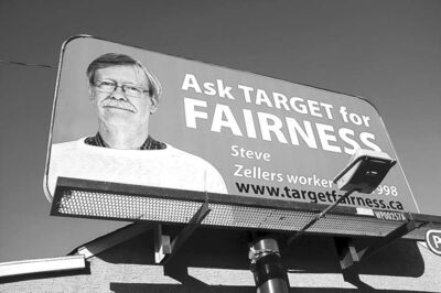 A billboard on McPhillips Street is part of the Target Fairness campaign.