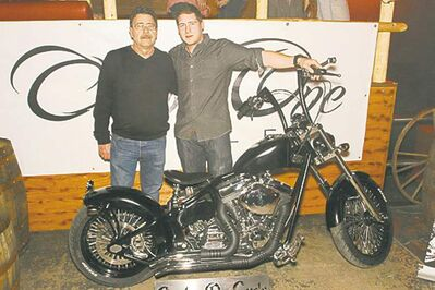Doug (left) and Jared Youzwa from Custom One Cycle in Selkirk recently unveiled this sinister-looking custom bobber. Although it's been named Double/Double, it looks like there's only room for one.